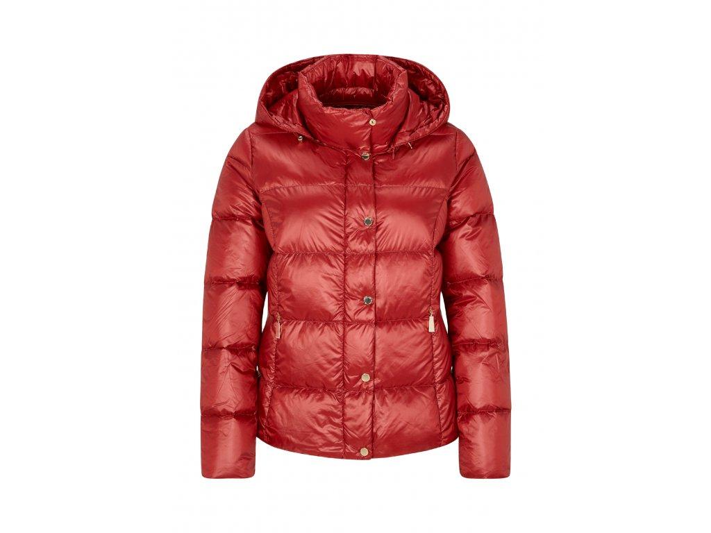 Červená péřová bunda