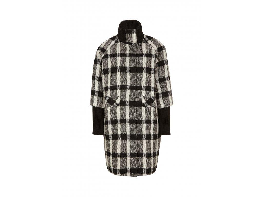 Vlněný kabát s kostkovaným vzorem