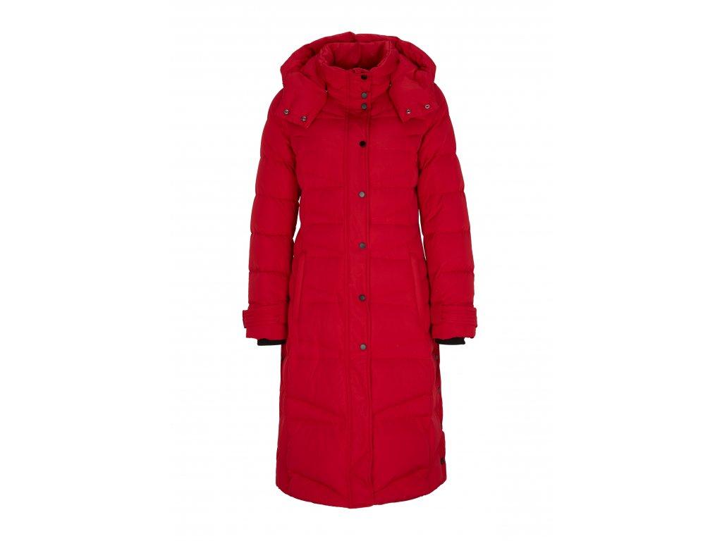 Červený prošívaný kabát