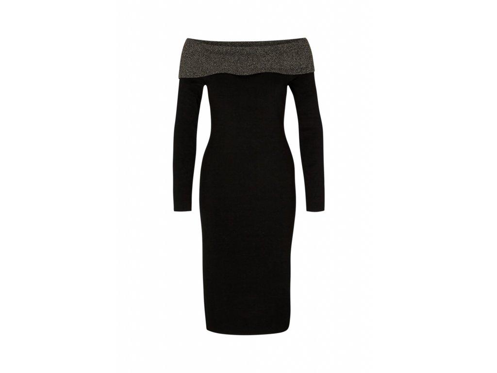 Černé šaty se spadlými rameny