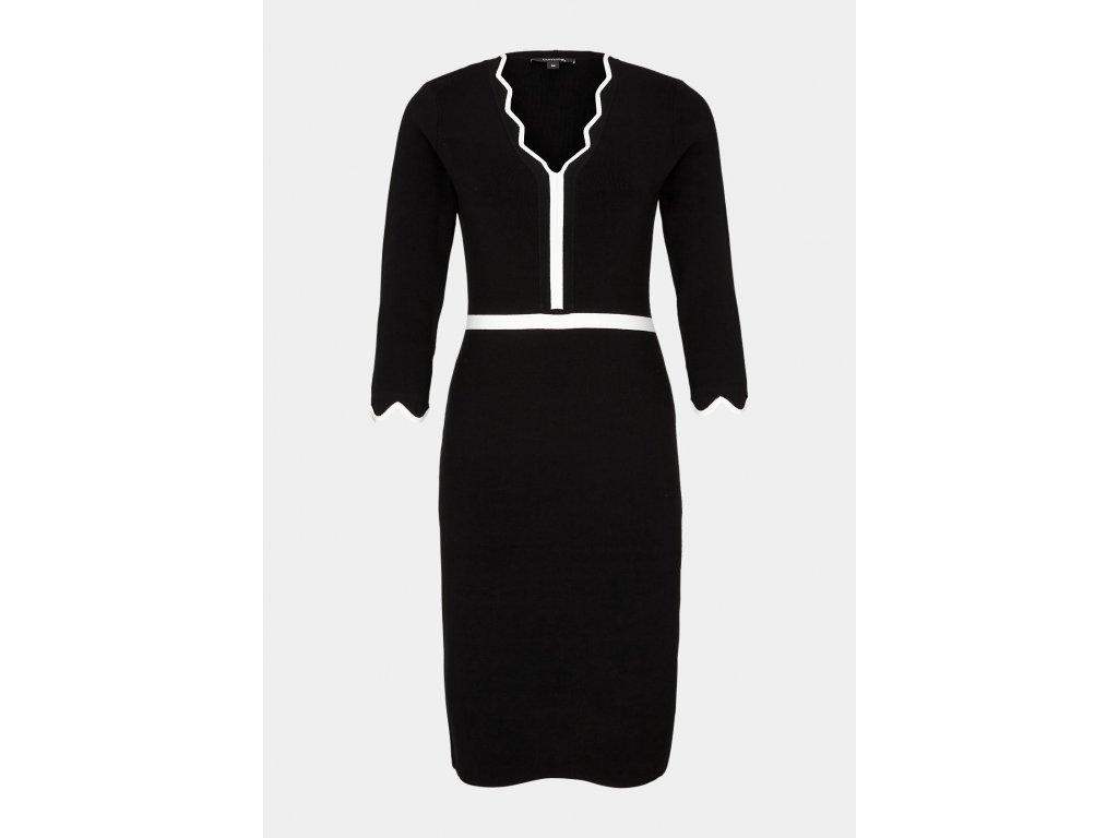 Černé pouzdrové šaty s kontrastním detailem