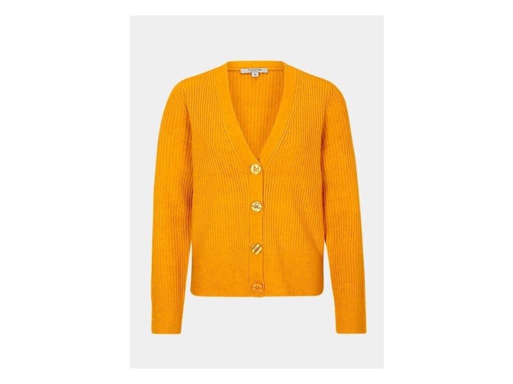 Oranžový svetřík na knoflíky