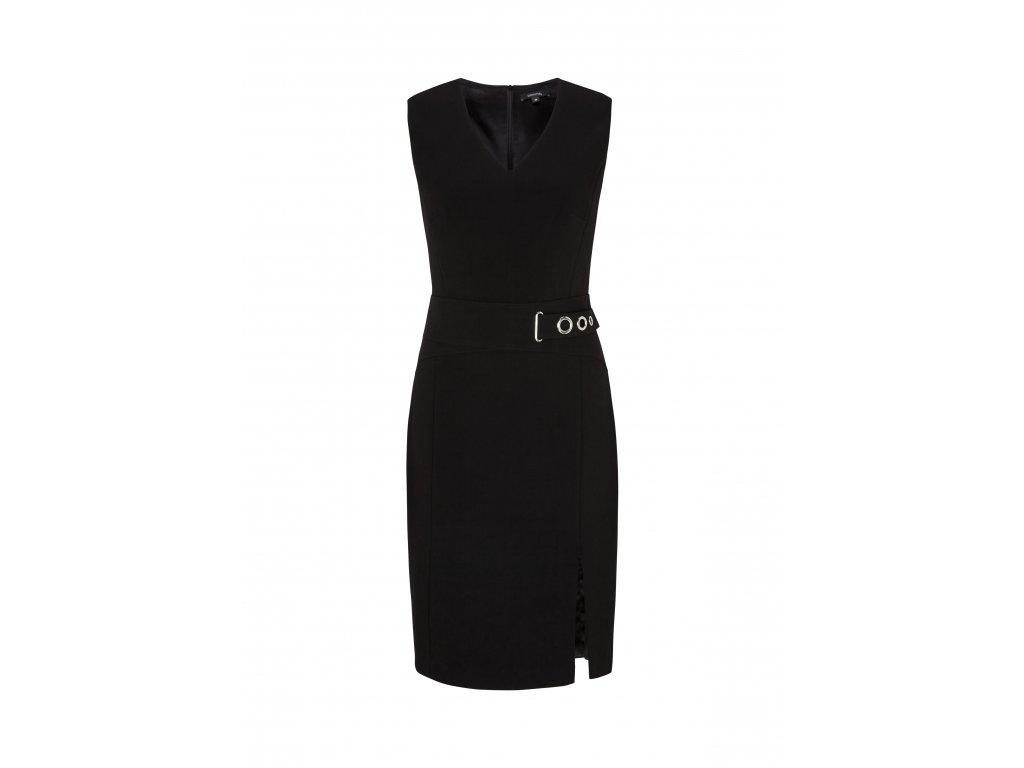 Černé pouzdrové šaty s páskem