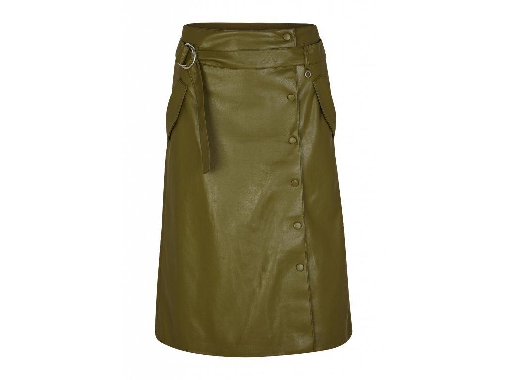 Zelená sukně z eko-kůže