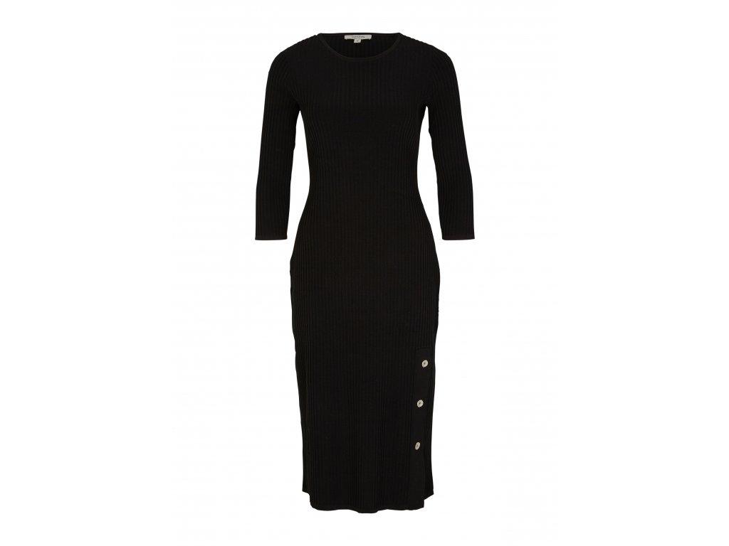 Žebrované černé šaty