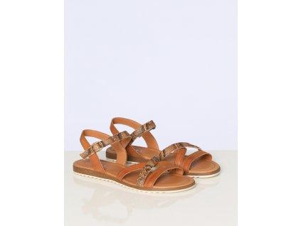 Hnědé páskové sandálky