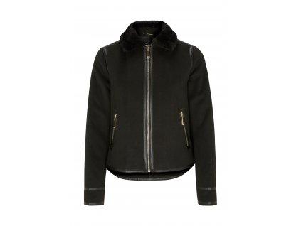 Černá bunda s kožešinovým límcem