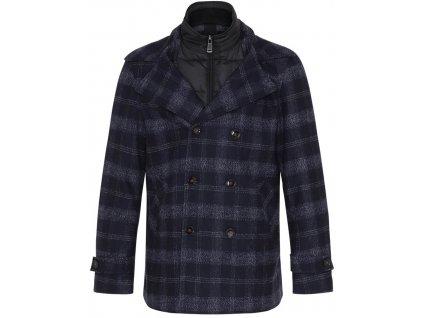 Tmavě modrý kabát s kostkou
