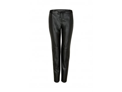 Černé kalhoty z eko kůže