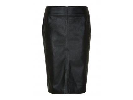 Černá pouzdrová sukně z eko kůže