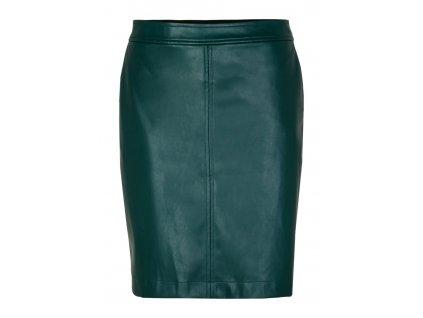 Smaragdová sukně z eko kůže