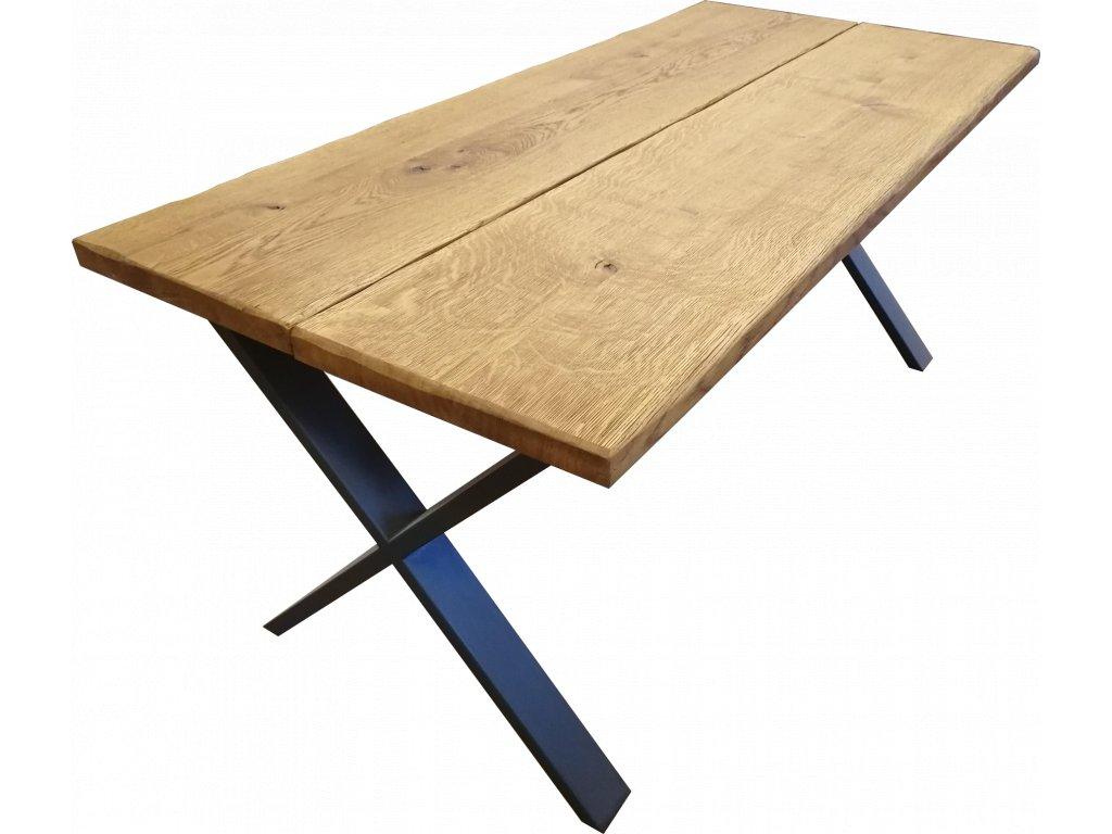 Dubový stůl dvoudílný s kovovou podnoží - X