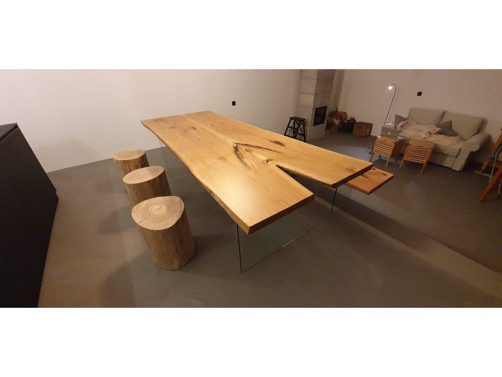 Designový stůl se skleněnou podnoží