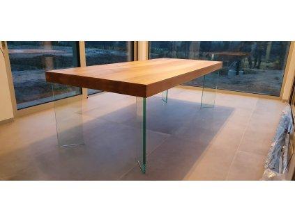Velký jasanový stůl se skleněnou podnoží