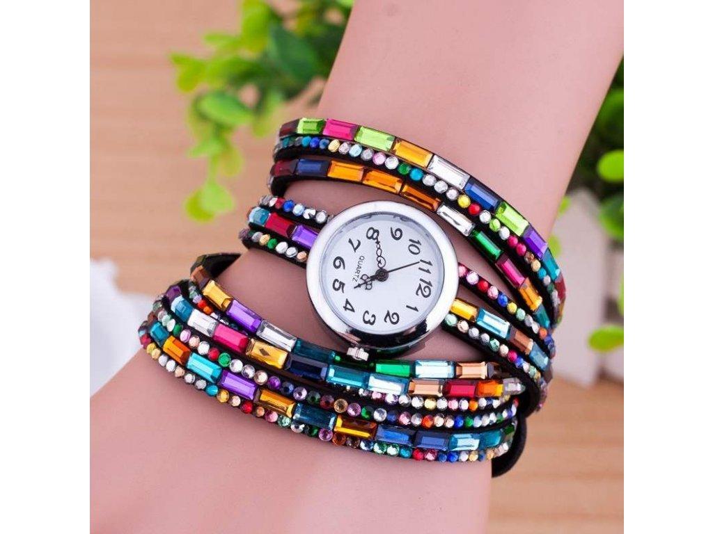 hodinky cerne s kaminky