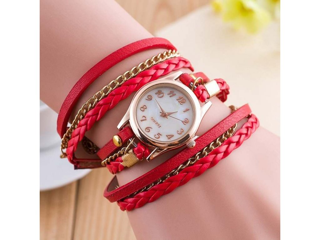 kozene damske hodinky cervene