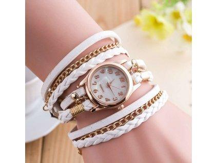 kozene damske hodinky bile