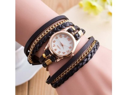 kozene damske hodinky cerne