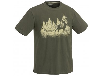 5576 100 1 pinewood t shirt hunting green