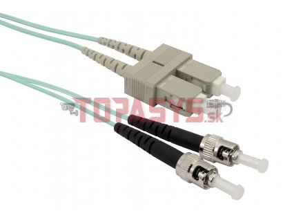Patch kabel Solarix 50/125 SCupc/STupc MM OM3 1m duplex SXPC-SC/ST-UPC-OM3-1M-D