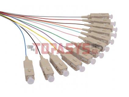 Pigtail 50/125 SCupc MM OM3 1,5m, balení 12ks - barvy SXPI-SC-UPC-OM3-1,5M-12PCK