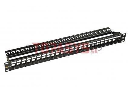 10G modulární neosazený patch panel Solarix 24 portů STP černý 1U SX24M-0-STP-BK