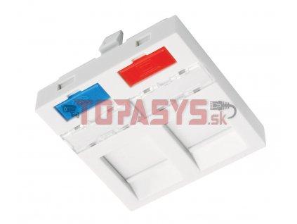 Modul French style Solarix 45 x 45mm pro 2 keystony přímý bílý SXF-M-2-45-WH-P