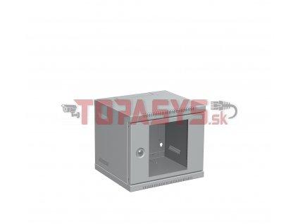 """Nástěnný rozvaděč 10"""" 4U RAL 7035 skleněné dveře LC-10-4-11-G"""