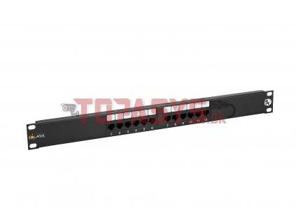 Patch panel Solarix 12 x RJ45 CAT5E UTP 150 MHz černý 1U SX12-5E-UTP-BK
