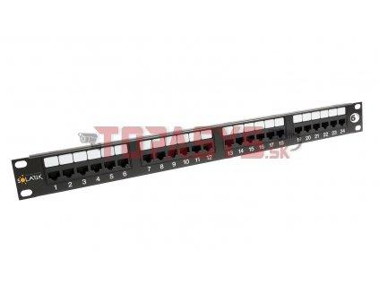 Patch panel Solarix 24 x RJ45 CAT6 UTP 350 MHz černý 1U SX24-6-UTP-BK