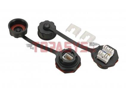 Průmyslový zásuvkový modul Solarix CAT5E UTP 1 x RJ45 IP67 SXKJ-IN-5E-UTP-BK