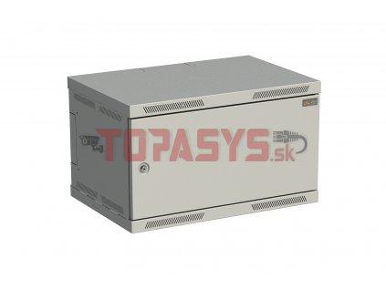 Rozvaděč nástěnný SENSA 6U 400mm, dveře plech, RAL 7035, SENSA-6U-64-21-G