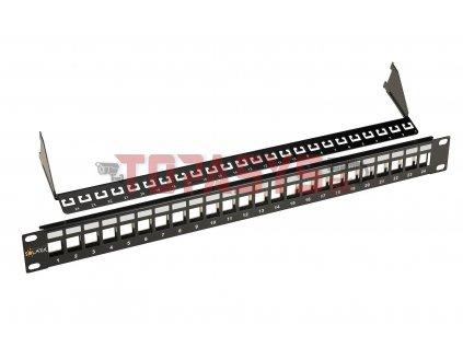Univerzální modulární neosazený patch panel Solarix 24 portů černý 1U SX24M-0-STP-BK-UNI