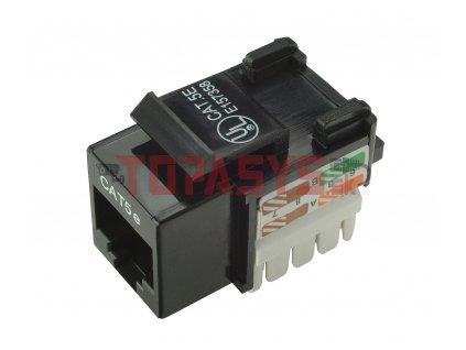 Zařezávací keystone Solarix CAT5E UTP RJ45 svorkovnice 90° černý s vyvazováním SXKJ-5E-UTP-BK-D
