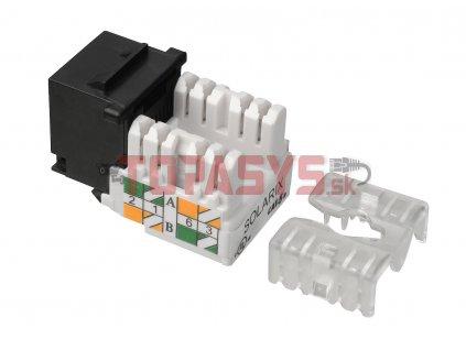 Zařezávací keystone Solarix CAT5E UTP RJ45 černý svorkovnice 90° SXKJ-5E-UTP-BK-90