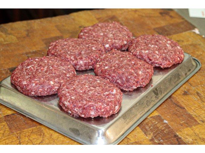 Jelení burger se sádlem z bio přeštíka 2ks cena za balení 240g