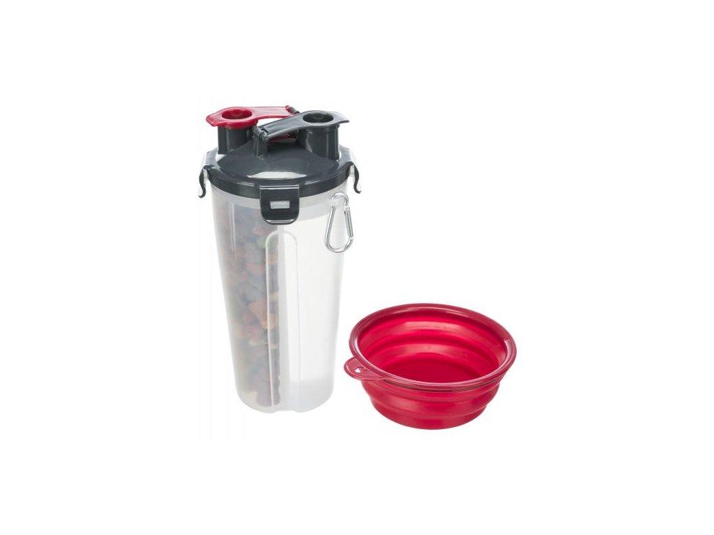 cestovni zasobnik na vodu a krmivo vcetne misky 2 0 35 l 11 23 cm