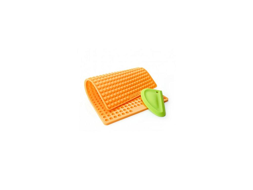 silikonova pecici formicka na pamlsky collory kulicky 1 cm oranzova silikonova sterka svetle zelena