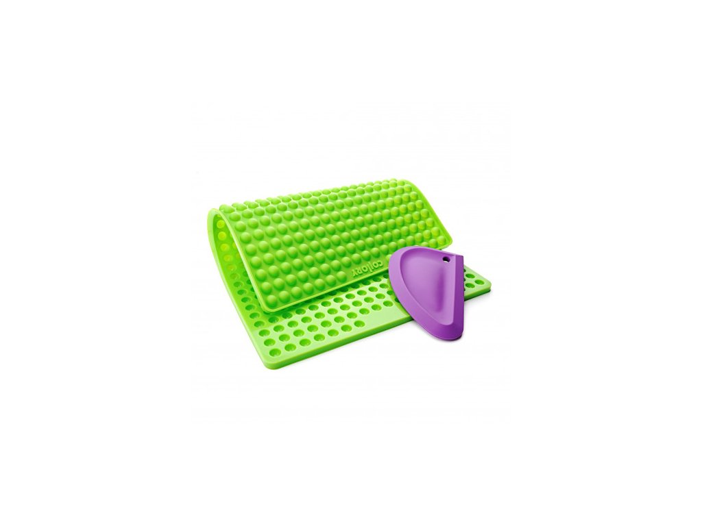 silikonova pecici formicka na pamlsky collory kulicky 1 cm zelena silikonova sterka svetle fialova