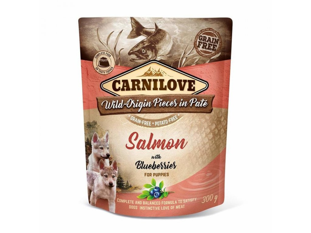 34935 kapsicka carnilove dog pate salmon with blueberries for puppies 300g