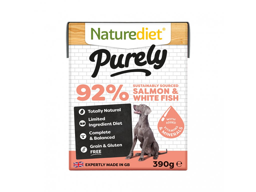W2754 Naturediet 390g Purely Range Tetra Pak Salmon Face On 1000x1000px RGB