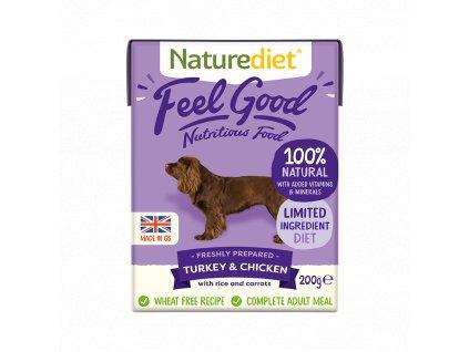 Turkey & Chicken - Feel Good Dog Food, 200 g (Nature Diet)  - paštika pro psy