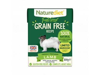 W2754 Naturediet 200g Tetra Pak GF Lamb Face On 1000x1000px