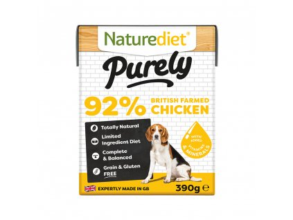 W2754 Naturediet 390g Purely Range Tetra Pak Chicken Face On 1000x1000px RGB