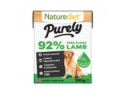 W2754 Naturediet 390g Purely Range Tetra Pak Lamb Face On 1000x1000px RGB
