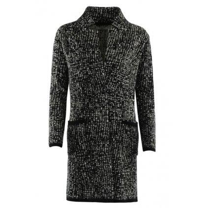 Dámský úpletový kabátek 19014 (Velikost L, Barva černobílý vzor)