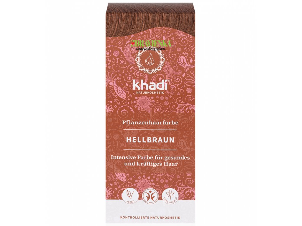 khadi rastlinna farba na vlasy svetlo hneda Khadi SVETLOHNEDÁ - HELLBRAUN zdravienka eshop