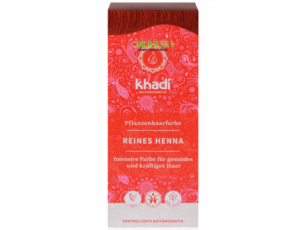 khadi rastlinna farba na vlasy cista henna - reines henna - zdravienka e-shop