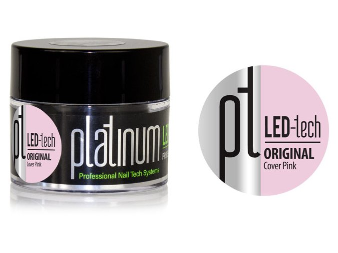 PLATINUM LED-tech ORIGINAL Cover Pink, 40g - Kamuflážny stavebný gel (30sec LED/120sec