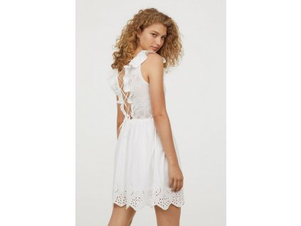 womens dress with eyelet embroidery white hm white dresses